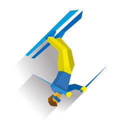 Freestyle skiing half-pipe or slopestyle vector