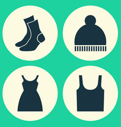 Garment icons set collection of half-hose dress vector