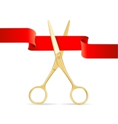 Golg Scissors Cut Red Ribbon vector image