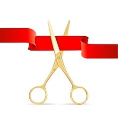 Golg Scissors Cut Red Ribbon vector
