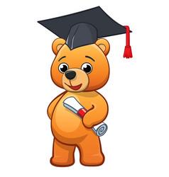 graduating cute cuddly teddy bear vector image