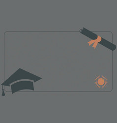 Graduation diploma and cap on paper background vector