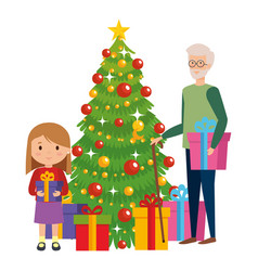 Grandfather with granddaughter and christmas tree vector