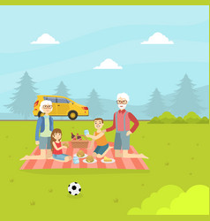 Grandparents and grandchildren eating and relaxing vector