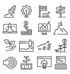 gray linear startup icons set startup vector image