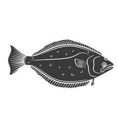 Halibut fish glyph icon vector