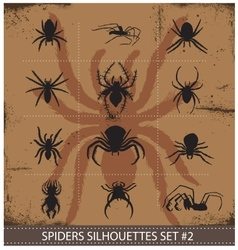 halloween spiders silhouettes symbols set vector image