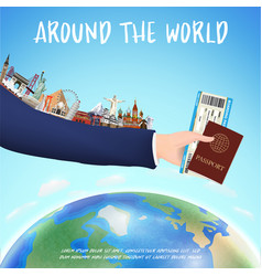 hand hold boarding pass passport and world landmar vector image
