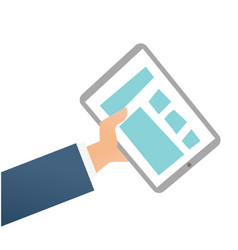 hand of businessman holding a tablet computer vector image