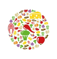 healthy food icons in circle vector image