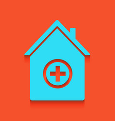 Hospital sign whitish icon vector