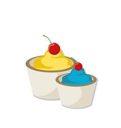 Ice cream with cherry vector