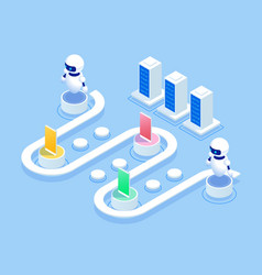 isometric survey concept banner with characters vector image