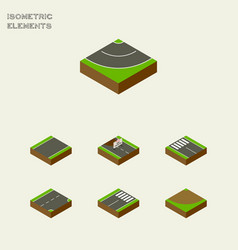 Isometric way set of repairs down road and other vector