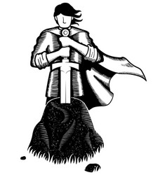 King arthur line art vector