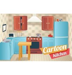 Kitchen furniture accessories interior cartoon vector
