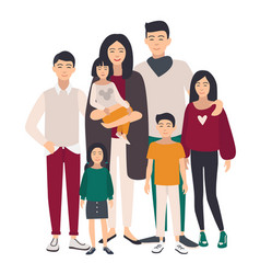 Large family portrait asian mother father and vector
