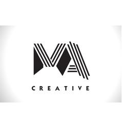 ma logo letter with black lines design line letter vector image