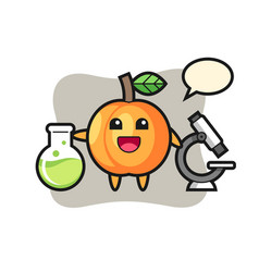 Mascot character apricot as a scientist vector