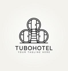 Mexican tubohotel minimalist line art logo design vector