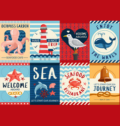 nautical banners and posters set vector image