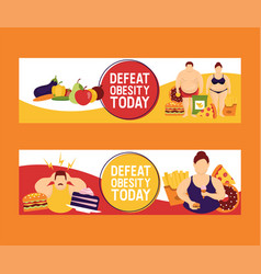 obesity concept set of banners vector image