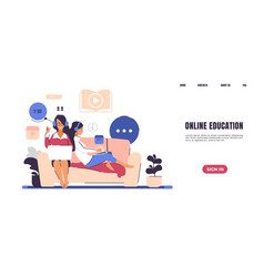 Online teaching landing page web courses and self vector