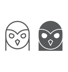owl line and glyph icon animal and wild vector image
