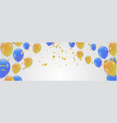 party background with confetti and balloons vector image