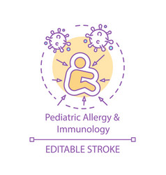 Pediatric allergy and immunology concept icon vector