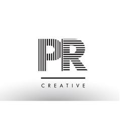 Pr p r black and white lines letter logo design vector