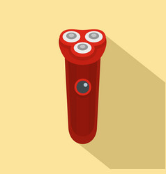 Red electric razor icon flat style vector