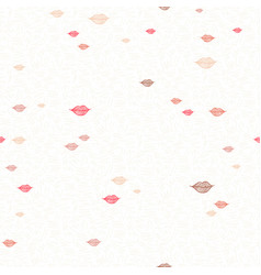 red girl lipstick kiss doodle pattern background vector image
