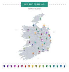 republic ireland map with location pointer vector image
