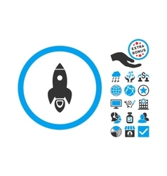 Rocket Start Flat Icon With Bonus vector image