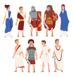 roman people in traditional clothes collection vector image