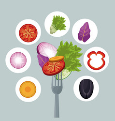 salad vegetables dinner organic fork vector image