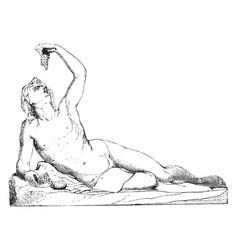 Sculpture represents bacchus greek god of vector