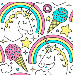 Seamless pattern with unicorn rainbow clouds vector