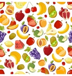 Seamless summer juicy fruit and berries vector