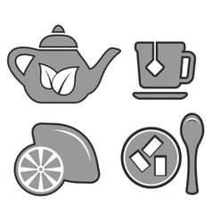 Set gray tea set icons vector