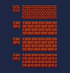 set of 8 bit 16x16 red brick vector image