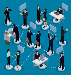 Set of isometric people in business suits vector