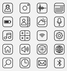 Set of mobile application line style icon vector image