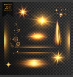 Set of transparent lights sparkles and lens flare vector