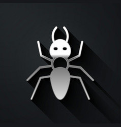 Silver ant icon isolated on black background long vector