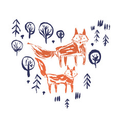 sketchy print with orange foxes in forest vector image