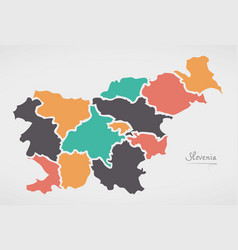 Slovenia map with states and modern round shapes vector