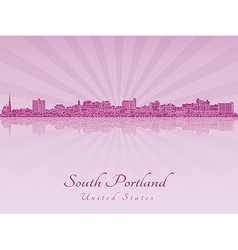 South Portland skyline in purple radiant orchid vector