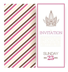 Striped princess invitation template vector image